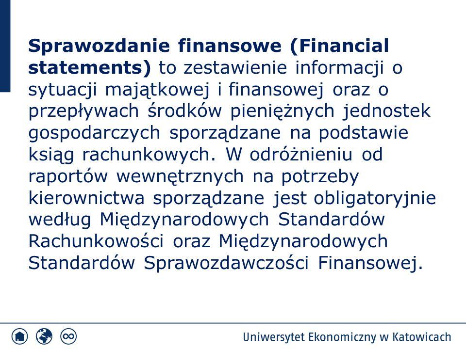 Sprawozdanie finansowe (Financial statements) to zestawienie informacji o sytuacji majątkowej i finansowej oraz o przepływach środków pieniężnych jedn