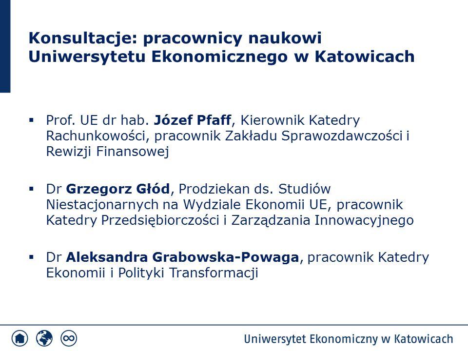 Konsultacje: pracownicy naukowi Uniwersytetu Ekonomicznego w Katowicach  Prof. UE dr hab. Józef Pfaff, Kierownik Katedry Rachunkowości, pracownik Zak