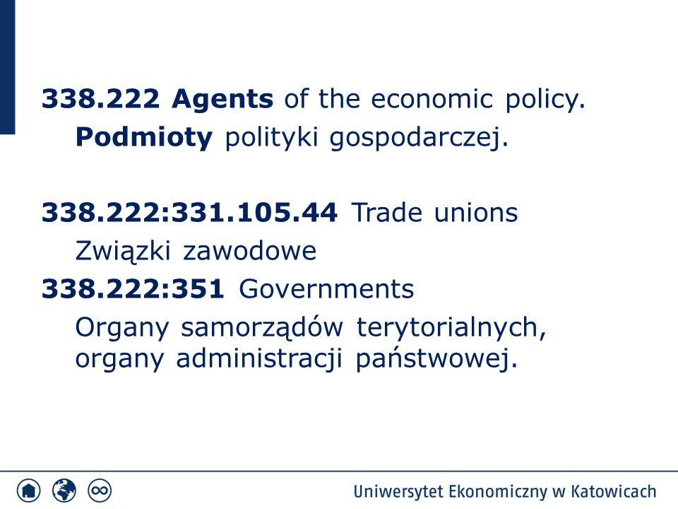 338.222 Agents of the economic policy. Podmioty polityki gospodarczej. 338.222:331.105.44 Trade unions Związki zawodowe 338.222:351 Governments Organy