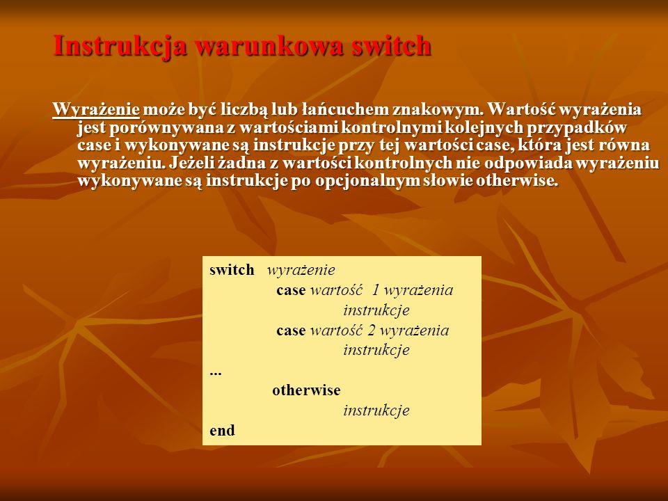 Instrukcja warunkowa switch Wyrażenie może być liczbą lub łańcuchem znakowym.