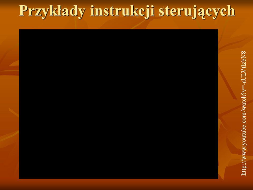 Przykłady instrukcji sterujących http://www.youtube.com/watch v=-aULVtlzbN8