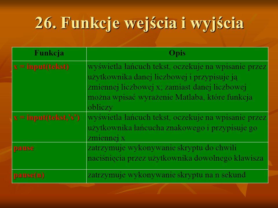 26. Funkcje wejścia i wyjścia FunkcjaOpis x = input(tekst) wyświetla łańcuch tekst, oczekuje na wpisanie przez użytkownika danej liczbowej i przypisuj