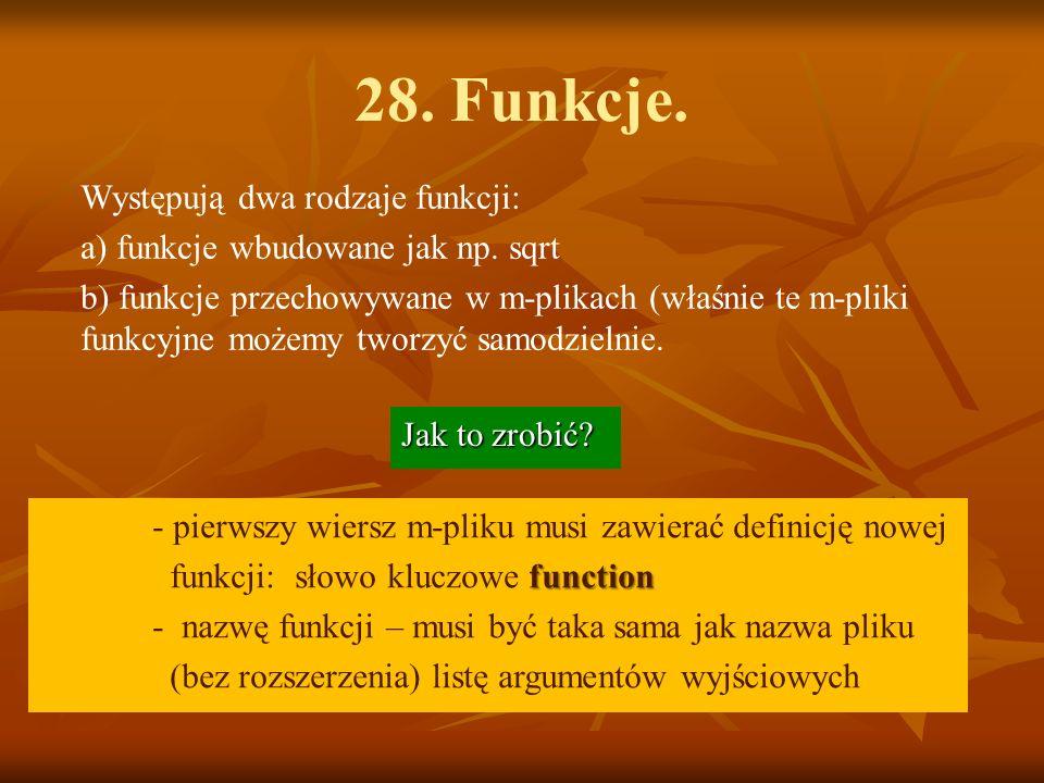 28. Funkcje. Występują dwa rodzaje funkcji: a) funkcje wbudowane jak np.