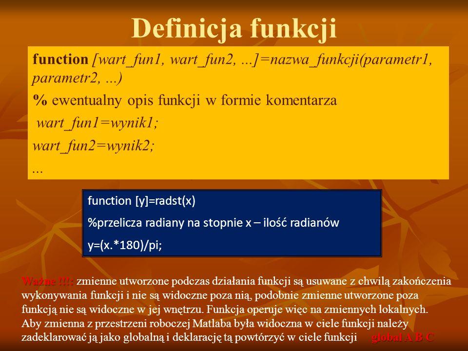 Definicja funkcji function [wart_fun1, wart_fun2,...]=nazwa_funkcji(parametr1, parametr2,...) % ewentualny opis funkcji w formie komentarza wart_fun1=wynik1; wart_fun2=wynik2;...