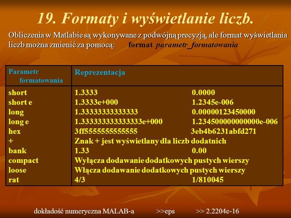 19. Formaty i wyświetlanie liczb.