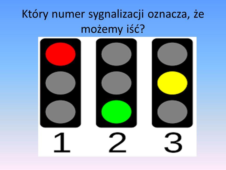 Który numer sygnalizacji oznacza, że możemy iść?