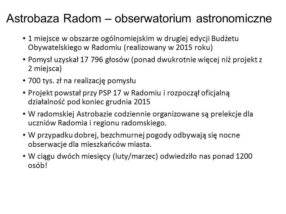 Astrobaza Radom – obserwatorium astronomiczne 1 miejsce w obszarze ogólnomiejskim w drugiej edycji Budżetu Obywatelskiego w Radomiu (realizowany w 2015 roku) Pomysł uzyskał 17 796 głosów (ponad dwukrotnie więcej niż projekt z 2 miejsca) 700 tys.