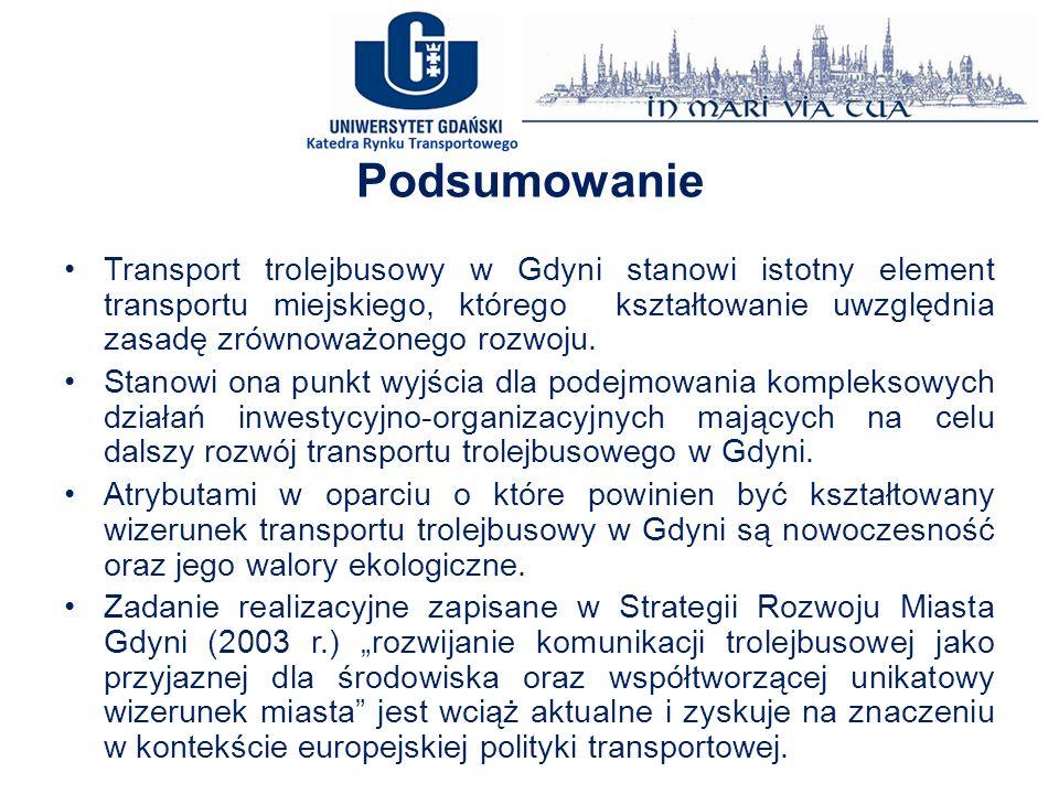 Podsumowanie Transport trolejbusowy w Gdyni stanowi istotny element transportu miejskiego, którego kształtowanie uwzględnia zasadę zrównoważonego rozwoju.