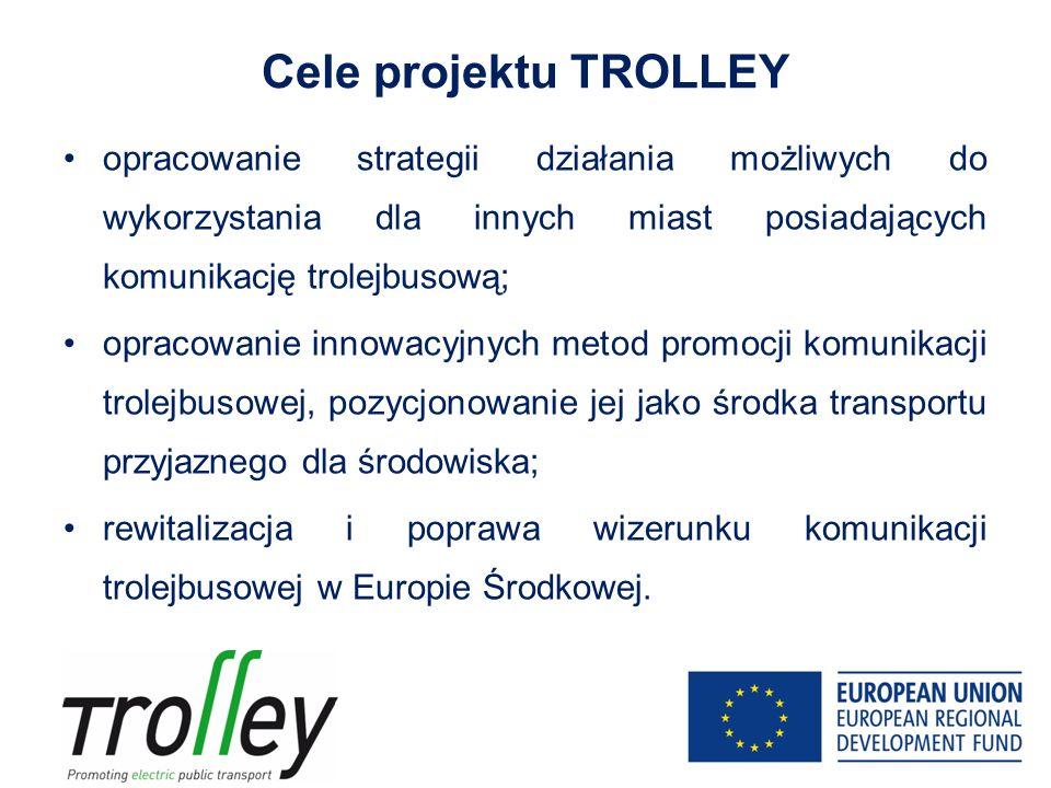 Cele projektu TROLLEY opracowanie strategii działania możliwych do wykorzystania dla innych miast posiadających komunikację trolejbusową; opracowanie innowacyjnych metod promocji komunikacji trolejbusowej, pozycjonowanie jej jako środka transportu przyjaznego dla środowiska; rewitalizacja i poprawa wizerunku komunikacji trolejbusowej w Europie Środkowej.