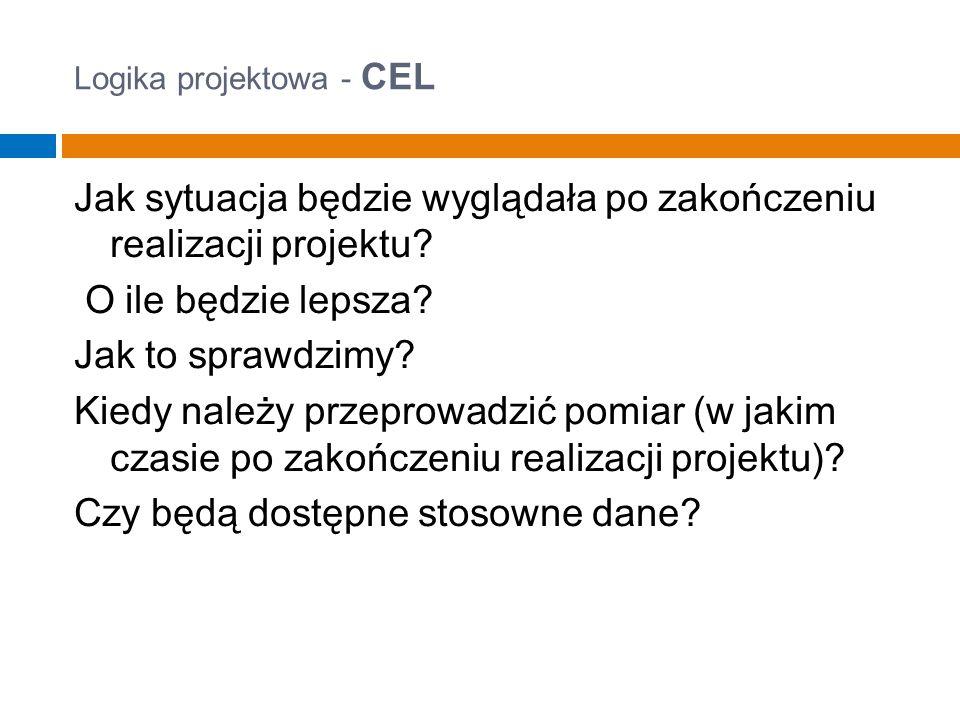 Logika projektowa - CEL Jak sytuacja będzie wyglądała po zakończeniu realizacji projektu.