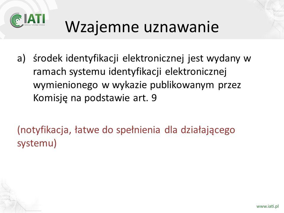 Wzajemne uznawanie a)środek identyfikacji elektronicznej jest wydany w ramach systemu identyfikacji elektronicznej wymienionego w wykazie publikowanym