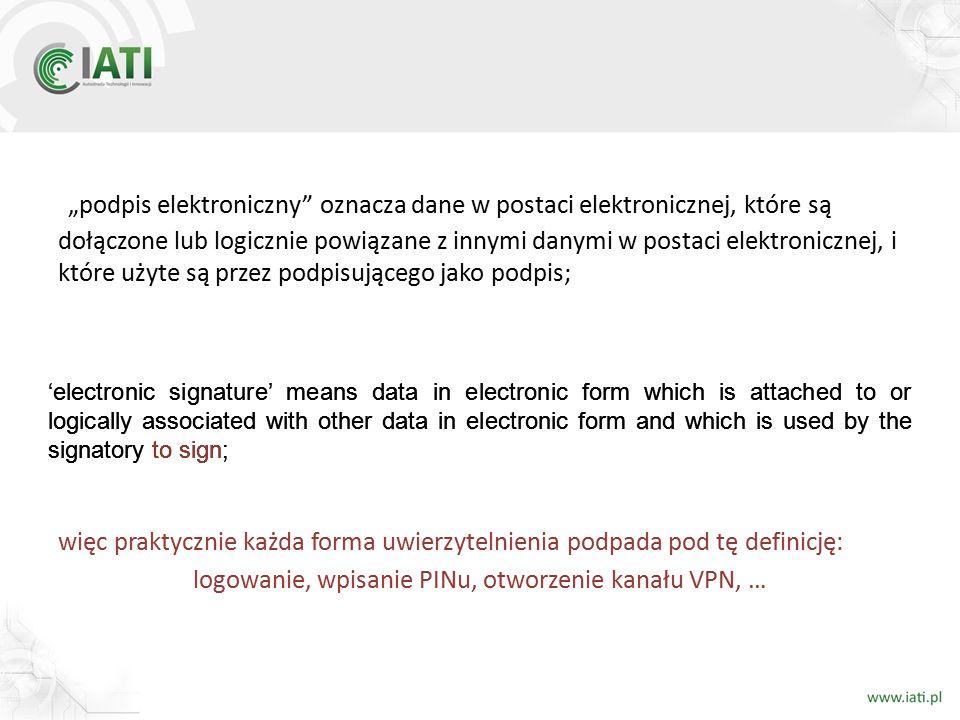 """""""podpis elektroniczny"""" oznacza dane w postaci elektronicznej, które są dołączone lub logicznie powiązane z innymi danymi w postaci elektronicznej, i k"""