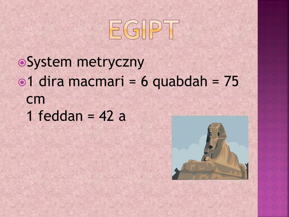  System metryczny  1 dira macmari = 6 quabdah = 75 cm 1 feddan = 42 a