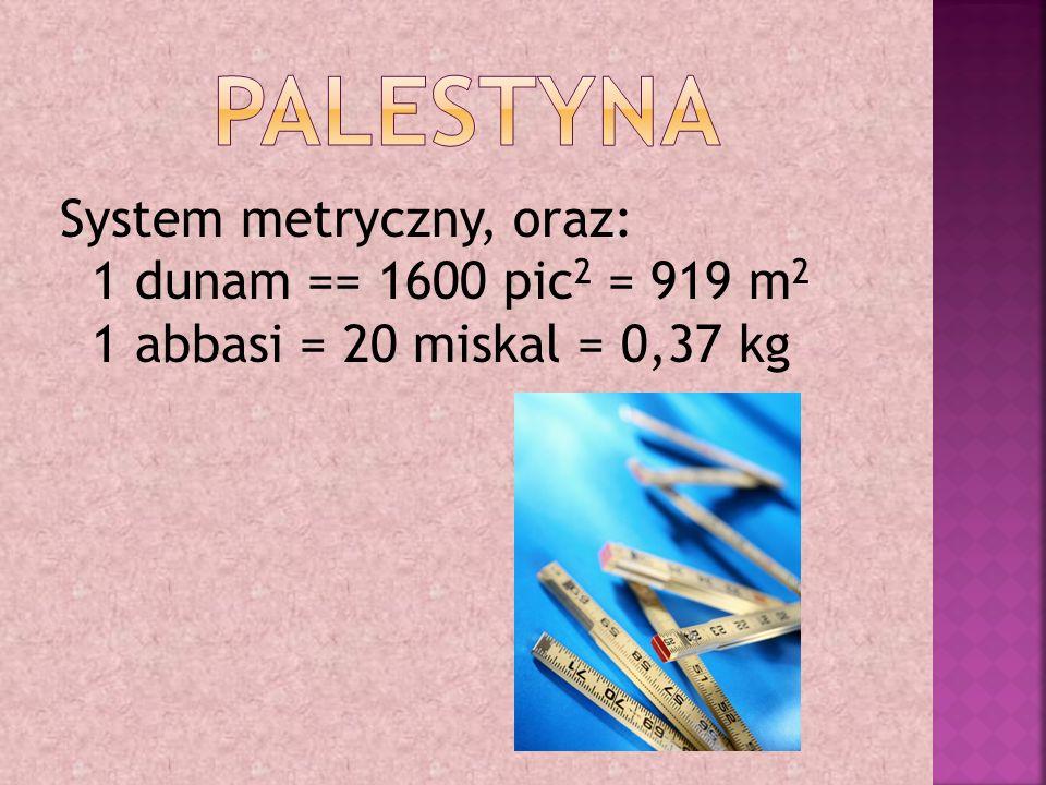 System metryczny, oraz: 1 dunam == 1600 pic 2 = 919 m 2 1 abbasi = 20 miskal = 0,37 kg