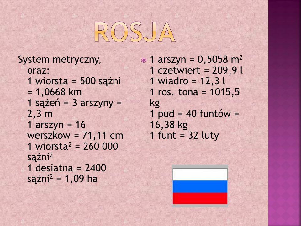 System metryczny, oraz: 1 wiorsta = 500 sążni = 1,0668 km 1 sążeń = 3 arszyny = 2,3 m 1 arszyn = 16 werszkow = 71,11 cm 1 wiorsta 2 = 260 000 sążni 2 1 desiatna = 2400 sążni 2 = 1,09 ha  1 arszyn = 0,5058 m 2 1 czetwiert = 209,9 l 1 wiadro = 12,3 l 1 ros.