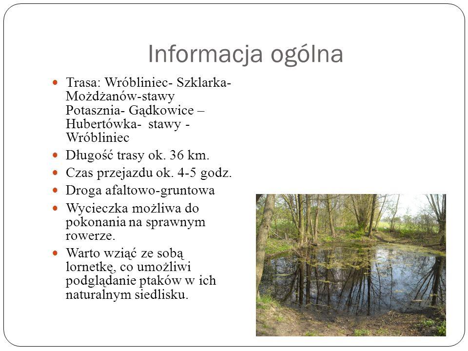Informacja ogólna Trasa: Wróbliniec- Szklarka- Możdżanów-stawy Potasznia- Gądkowice – Hubertówka- stawy - Wróbliniec Długość trasy ok.