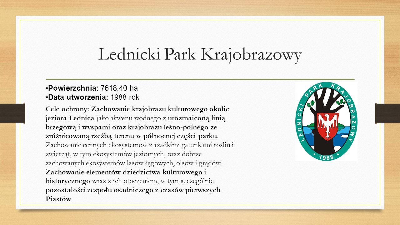 Lednicki Park Krajobrazowy Powierzchnia: 7618,40 ha Data utworzenia: 1988 rok Cele ochrony: Zachowanie krajobrazu kulturowego okolic jeziora Lednica jako akwenu wodnego z urozmaiconą linią brzegową i wyspami oraz krajobrazu leśno-polnego ze zróżnicowaną rzeźbą terenu w północnej części parku.