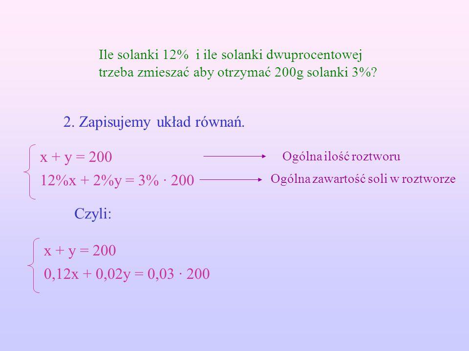 2. Zapisujemy układ równań.