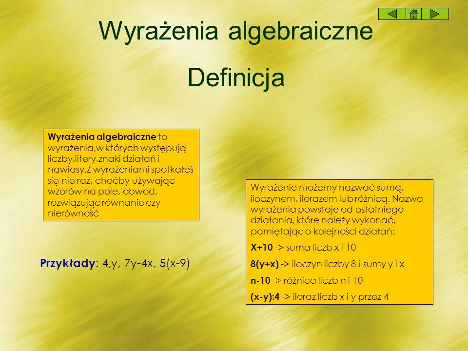 Wyrażenia algebraiczne Definicja Wyrażenia algebraiczne to wyrażenia,w których występują liczby,litery,znaki działań i nawiasy.Z wyrażeniami spotkałeś się nie raz, choćby używając wzorów na pole, obwód, rozwiązując równanie czy nierówność Przykłady : 4,y, 7y-4x, 5(x-9) Wyrażenie możemy nazwać sumą, iloczynem, ilorazem lub różnicą.