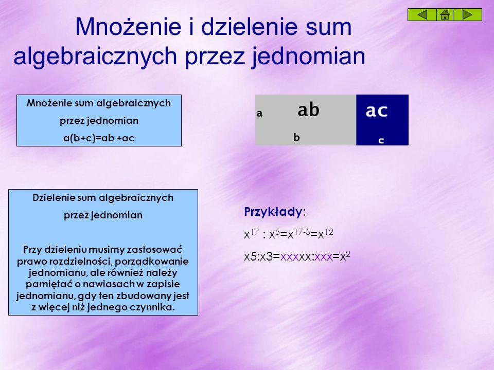 Mnożenie sum algebraicznych przez jednomian a(b+c)=ab +ac Mnożenie i dzielenie sum algebraicznych przez jednomian Dzielenie sum algebraicznych przez jednomian Przy dzieleniu musimy zastosować prawo rozdzielności, porządkowanie jednomianu, ale również należy pamiętać o nawiasach w zapisie jednomianu, gdy ten zbudowany jest z więcej niż jednego czynnika.