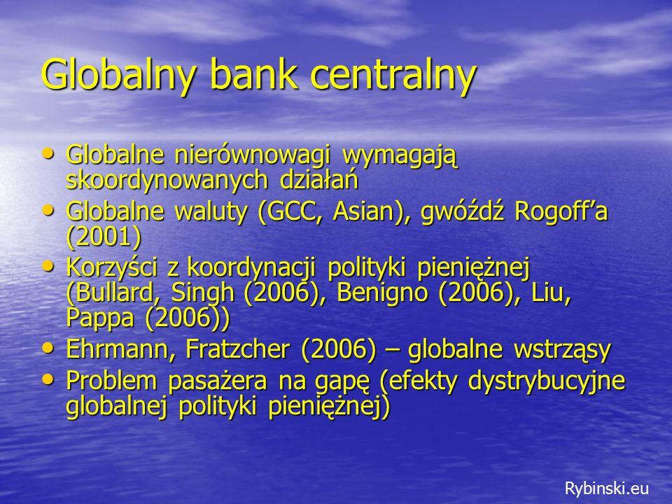 Rybinski.eu Globalny bank centralny Globalne nierównowagi wymagają skoordynowanych działań Globalne nierównowagi wymagają skoordynowanych działań Globalne waluty (GCC, Asian), gwóźdź Rogoff'a (2001) Globalne waluty (GCC, Asian), gwóźdź Rogoff'a (2001) Korzyści z koordynacji polityki pieniężnej (Bullard, Singh (2006), Benigno (2006), Liu, Pappa (2006)) Korzyści z koordynacji polityki pieniężnej (Bullard, Singh (2006), Benigno (2006), Liu, Pappa (2006)) Ehrmann, Fratzcher (2006) – globalne wstrząsy Ehrmann, Fratzcher (2006) – globalne wstrząsy Problem pasażera na gapę (efekty dystrybucyjne globalnej polityki pieniężnej) Problem pasażera na gapę (efekty dystrybucyjne globalnej polityki pieniężnej)
