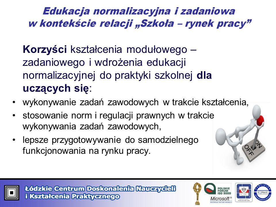 Korzyści kształcenia modułowego – zadaniowego i wdrożenia edukacji normalizacyjnej do praktyki szkolnej dla uczących się: wykonywanie zadań zawodowych