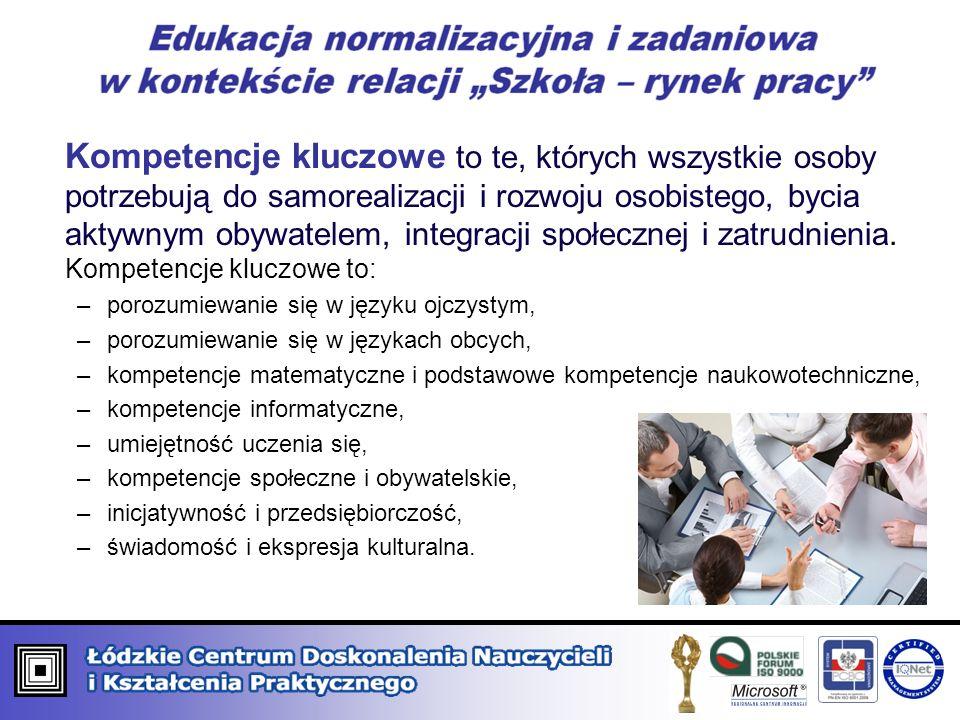 Kompetencje kluczowe to te, których wszystkie osoby potrzebują do samorealizacji i rozwoju osobistego, bycia aktywnym obywatelem, integracji społeczne