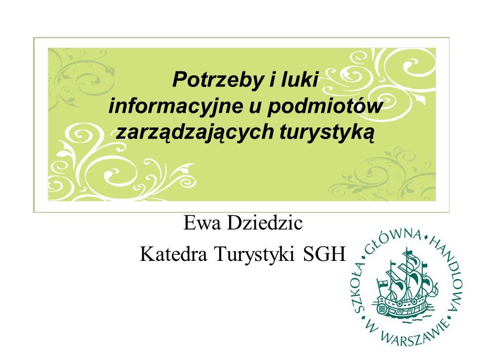 Ewa Dziedzic Katedra Turystyki SGH Potrzeby i luki informacyjne u podmiotów zarządzających turystyką