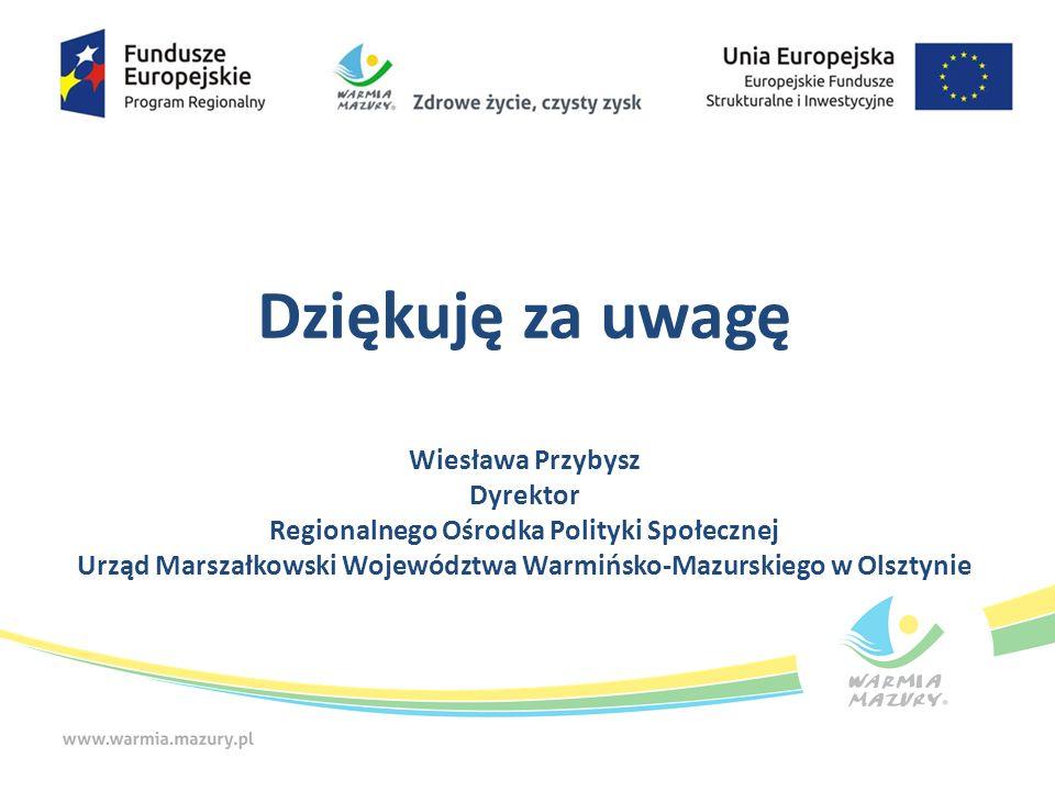 Dziękuję za uwagę Wiesława Przybysz Dyrektor Regionalnego Ośrodka Polityki Społecznej Urząd Marszałkowski Województwa Warmińsko-Mazurskiego w Olsztynie
