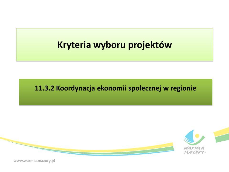 11.3.2 Koordynacja ekonomii społecznej w regionie Kryteria wyboru projektów