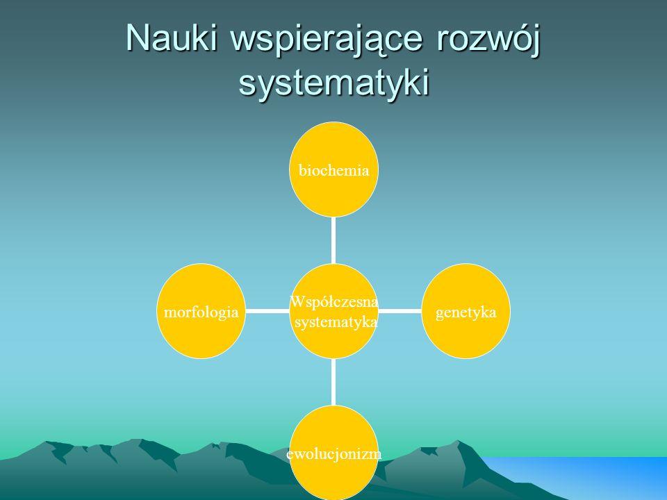 Współczesna systematyka biochemiagenetykaewolucjonizmmorfologia