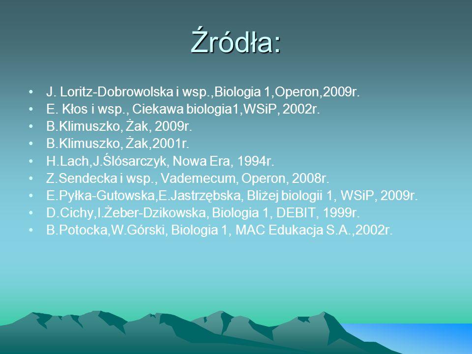 Źródła: J. Loritz-Dobrowolska i wsp.,Biologia 1,Operon,2009r. E. Kłos i wsp., Ciekawa biologia1,WSiP, 2002r. B.Klimuszko, Żak, 2009r. B.Klimuszko, Żak