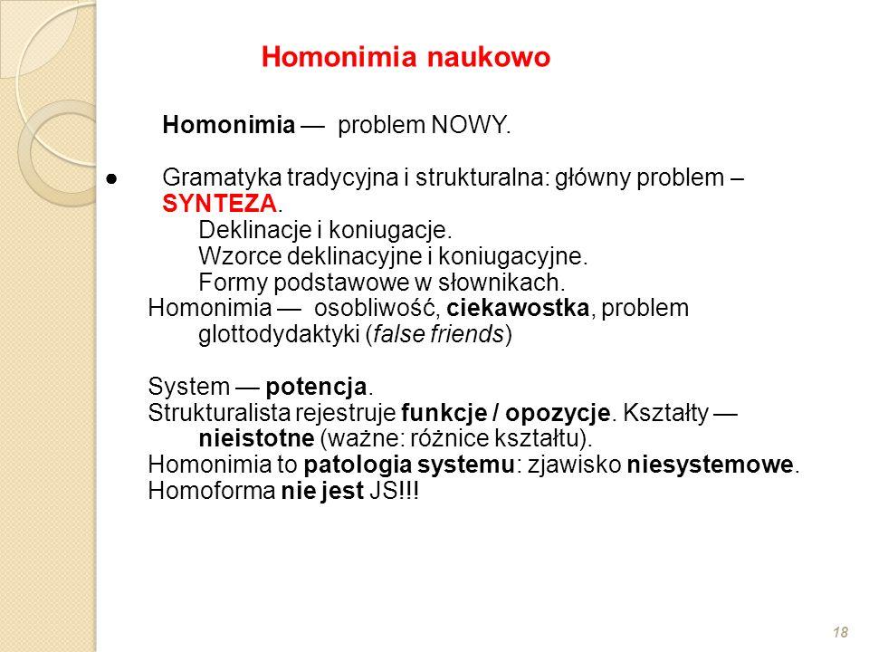 Homonimia — problem NOWY. ●Gramatyka tradycyjna i strukturalna: główny problem – SYNTEZA. Deklinacje i koniugacje. Wzorce deklinacyjne i koniugacyjne.