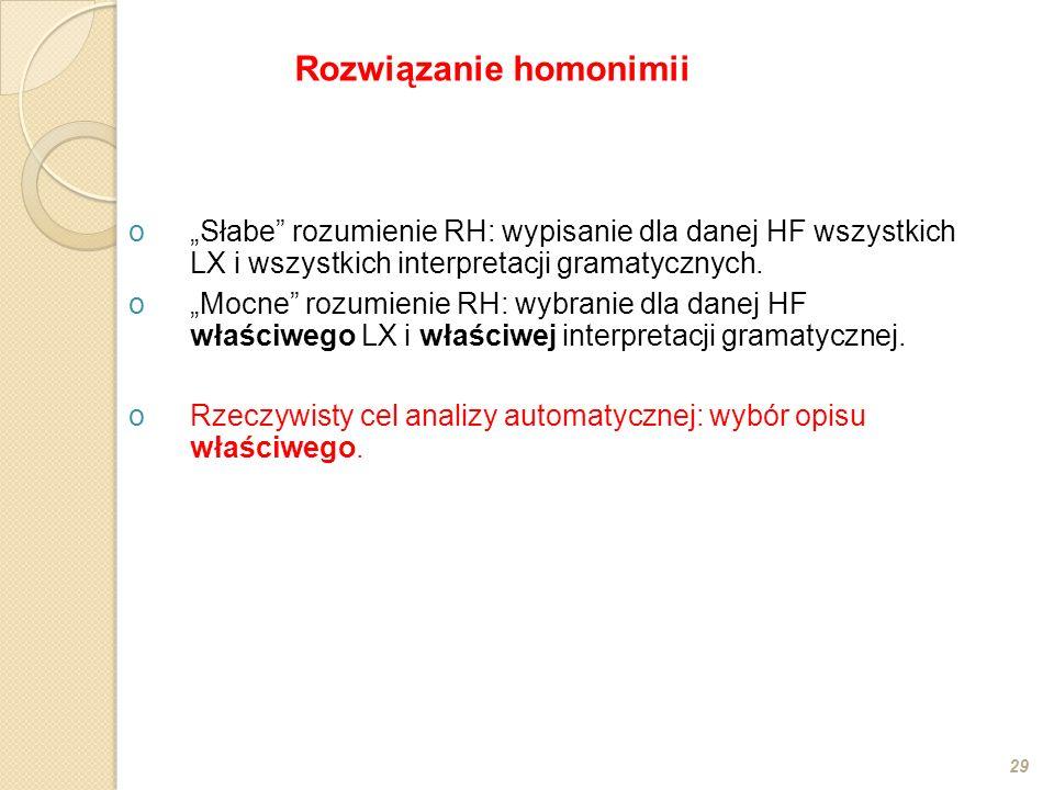 """o""""Słabe"""" rozumienie RH: wypisanie dla danej HF wszystkich LX i wszystkich interpretacji gramatycznych. o""""Mocne"""" rozumienie RH: wybranie dla danej HF w"""