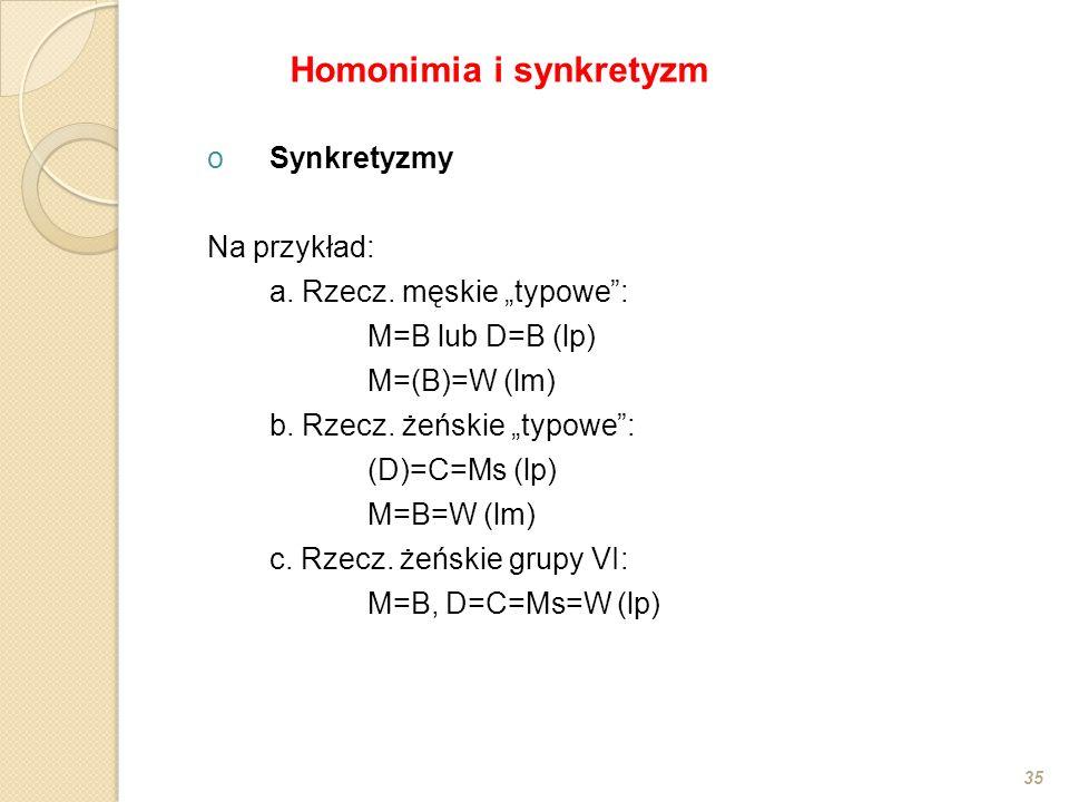 """oSynkretyzmy Na przykład: a. Rzecz. męskie """"typowe"""": M=B lub D=B (lp) M=(B)=W (lm) b. Rzecz. żeńskie """"typowe"""": (D)=C=Ms (lp) M=B=W (lm) c. Rzecz. żeńs"""