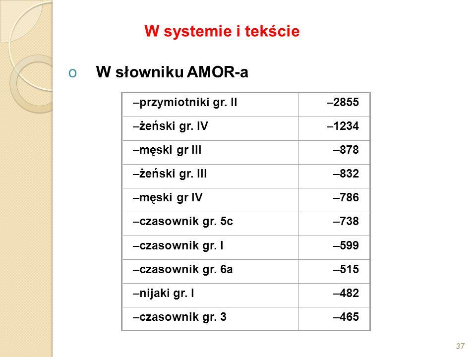 oW słowniku AMOR-a 37 –przymiotniki gr. II–2855 –żeński gr. IV–1234 –męski gr III–878 –żeński gr. III–832 –męski gr IV–786 –czasownik gr. 5c–738 –czas