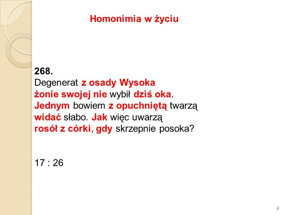 268. Degenerat z osady Wysoka żonie swojej nie wybił dziś oka.