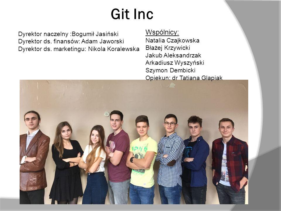 Git Inc Dyrektor naczelny :Bogumił Jasiński Dyrektor ds. finansów: Adam Jaworski Dyrektor ds. marketingu: Nikola Koralewska Wspólnicy: Natalia Czajkow