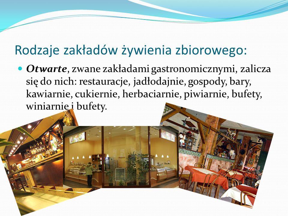 Rodzaje zakładów żywienia zbiorowego: Otwarte, zwane zakładami gastronomicznymi, zalicza się do nich: restauracje, jadłodajnie, gospody, bary, kawiarn