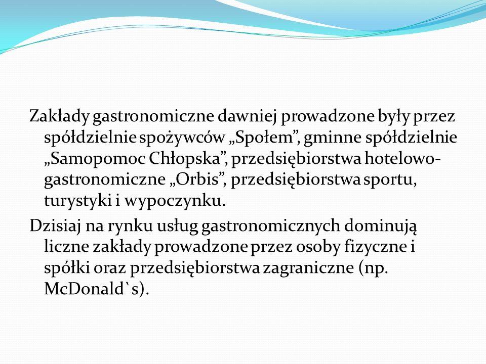 """Zakłady gastronomiczne dawniej prowadzone były przez spółdzielnie spożywców """"Społem"""", gminne spółdzielnie """"Samopomoc Chłopska"""", przedsiębiorstwa hotel"""