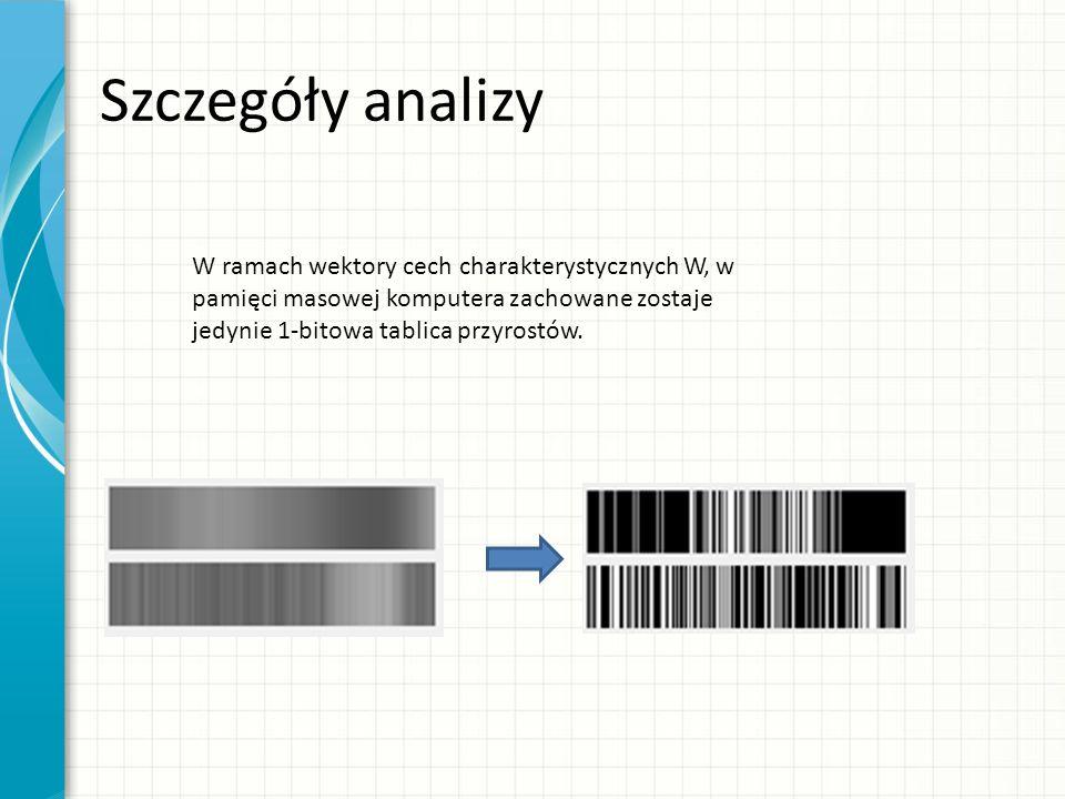 Szczegóły analizy W ramach wektory cech charakterystycznych W, w pamięci masowej komputera zachowane zostaje jedynie 1-bitowa tablica przyrostów.