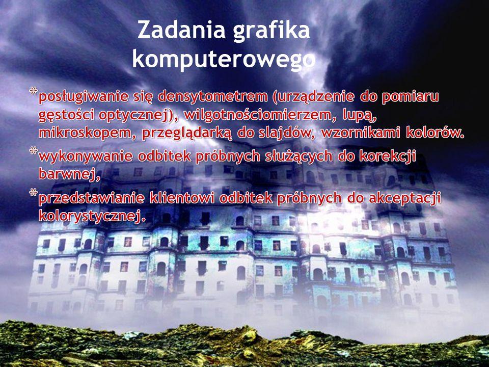 Wiedza ; z zakresu zagadnień informatycznych, z zakresu terminologii graficznej, dobra znajomość języka angielskiego.