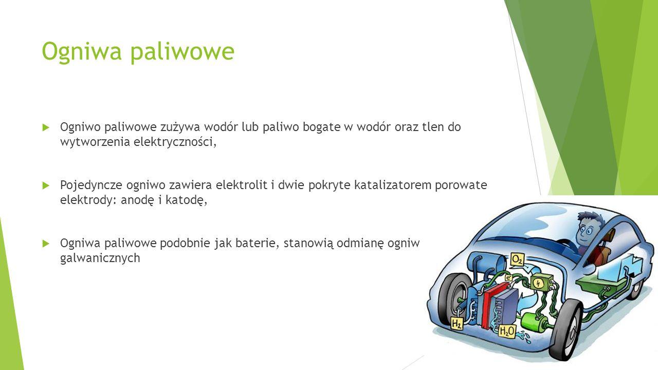 Ogniwa paliwowe  Ogniwo paliwowe zużywa wodór lub paliwo bogate w wodór oraz tlen do wytworzenia elektryczności,  Pojedyncze ogniwo zawiera elektrol