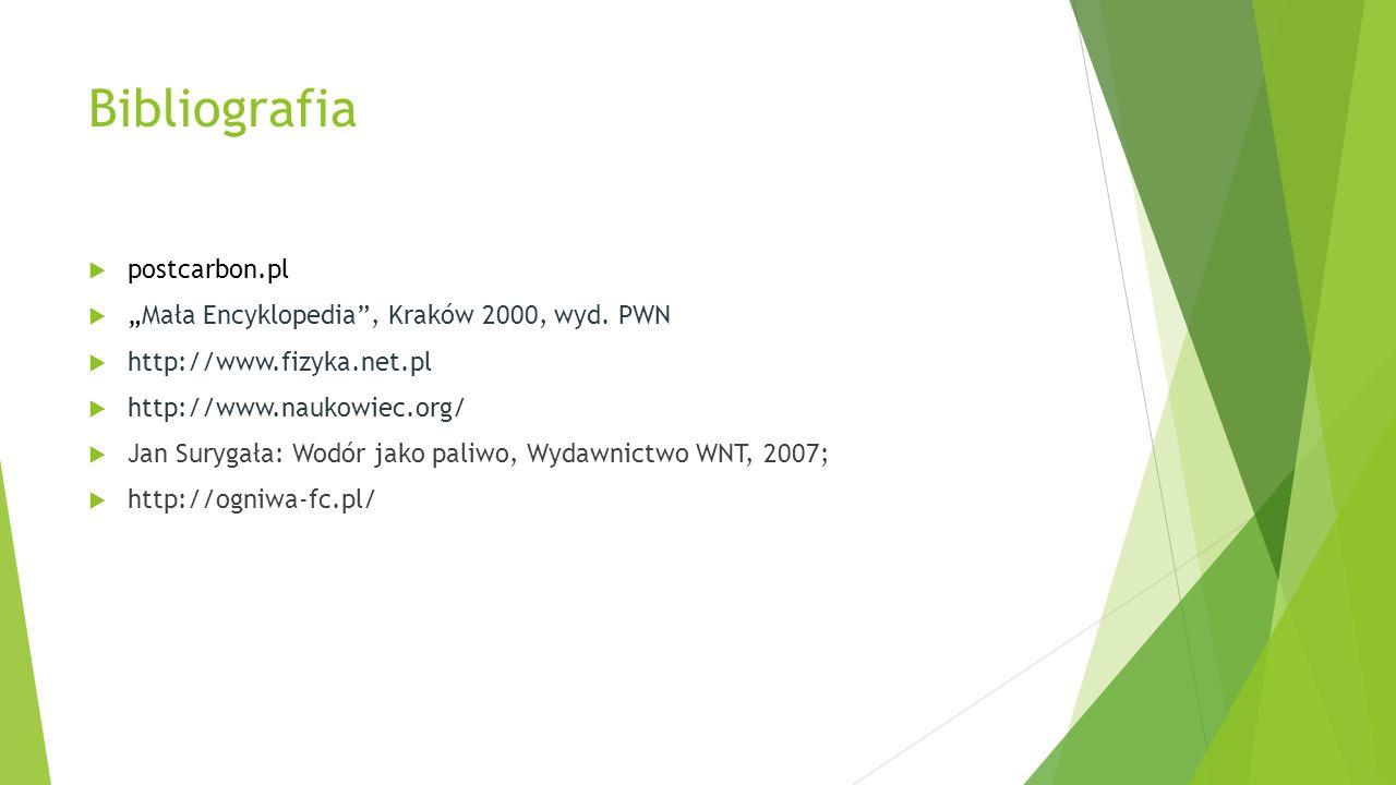 """Bibliografia  postcarbon.pl  """"Mała Encyklopedia"""", Kraków 2000, wyd. PWN  http://www.fizyka.net.pl  http://www.naukowiec.org/  Jan Surygała: Wodór"""