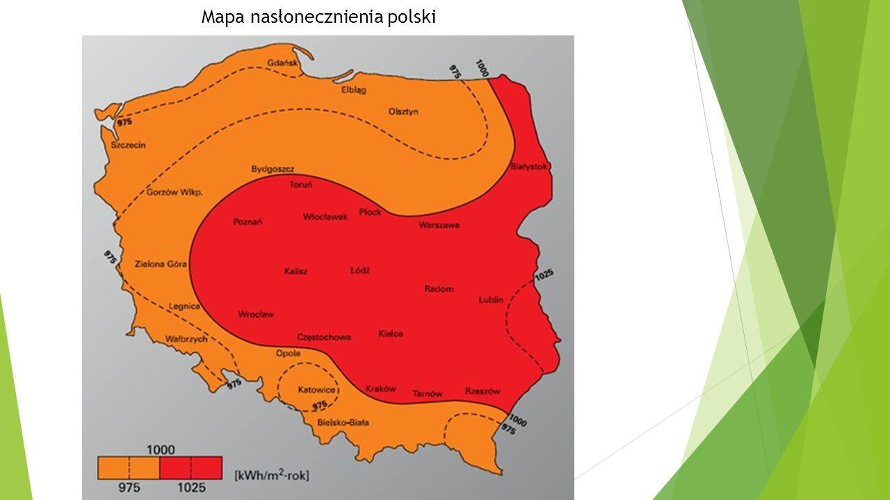 Mapa nasłonecznienia polski
