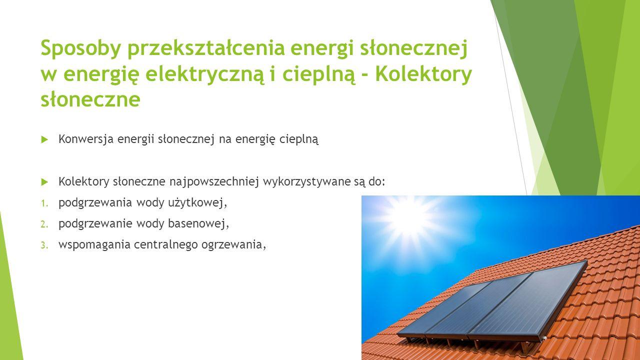 Sposoby przekształcenia energi słonecznej w energię elektryczną i cieplną - Kolektory słoneczne  Konwersja energii słonecznej na energię cieplną  Ko