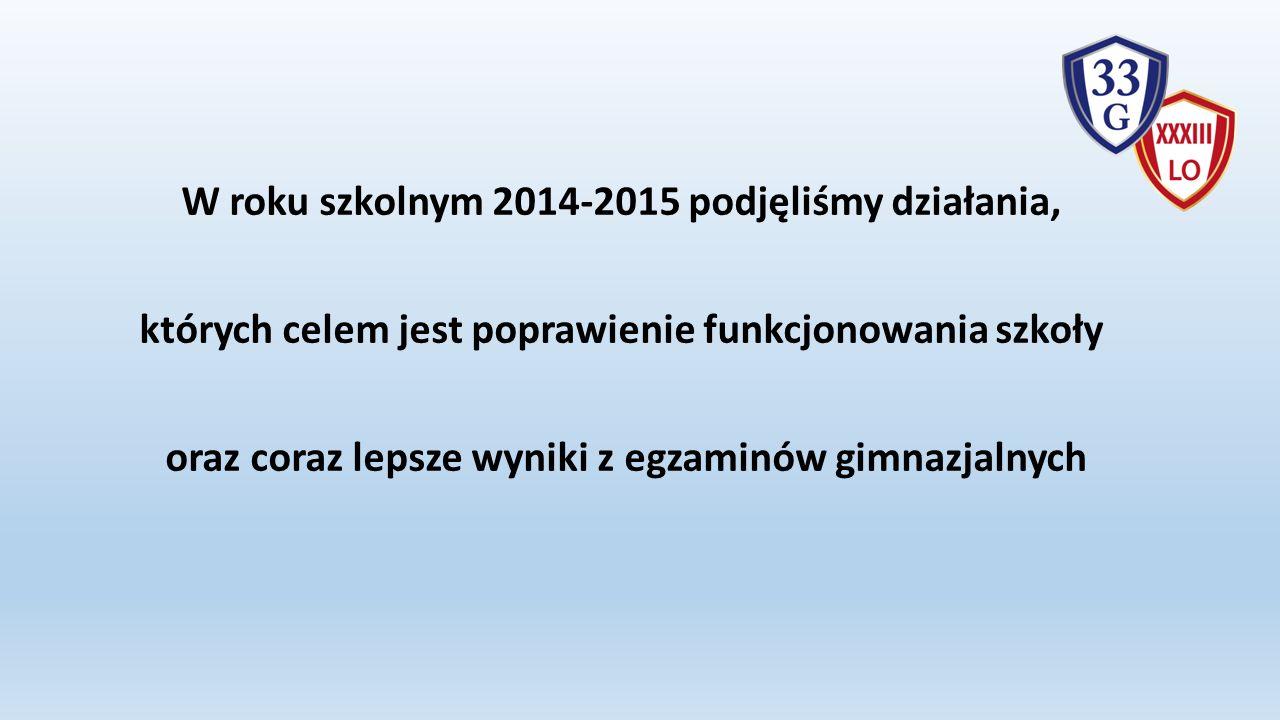 W roku szkolnym 2014-2015 podjęliśmy działania, których celem jest poprawienie funkcjonowania szkoły oraz coraz lepsze wyniki z egzaminów gimnazjalnych