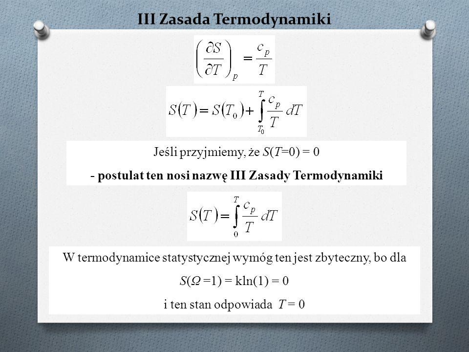 III Zasada Termodynamiki Jeśli przyjmiemy, że S(T=0) = 0 - postulat ten nosi nazwę III Zasady Termodynamiki W termodynamice statystycznej wymóg ten jest zbyteczny, bo dla S(Ω =1) = kln(1) = 0 i ten stan odpowiada T = 0