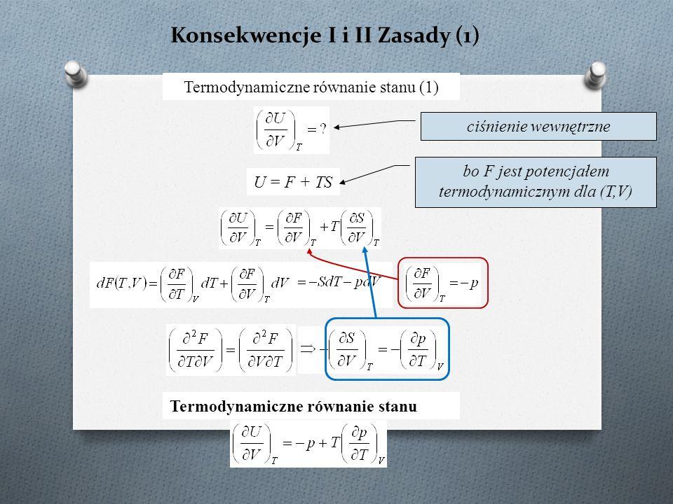 Konsekwencje I i II Zasady (1) Termodynamiczne równanie stanu (1) U = F + TS bo F jest potencjałem termodynamicznym dla (T,V) ciśnienie wewnętrzne Termodynamiczne równanie stanu