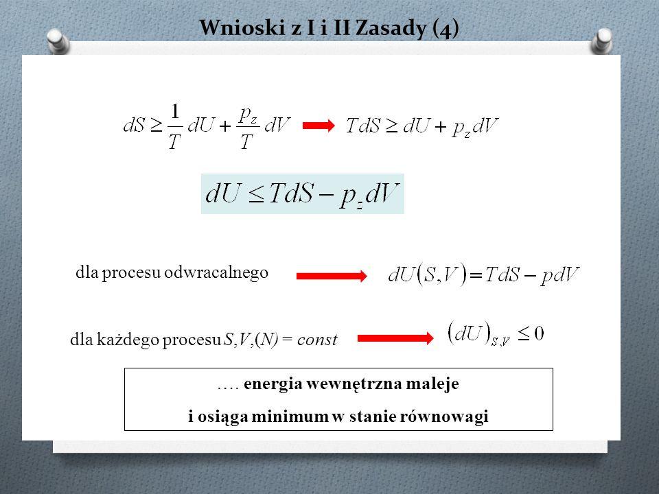 Wnioski z I i II Zasady (4) dla procesu odwracalnego dla każdego procesu S,V,(N) = const ….